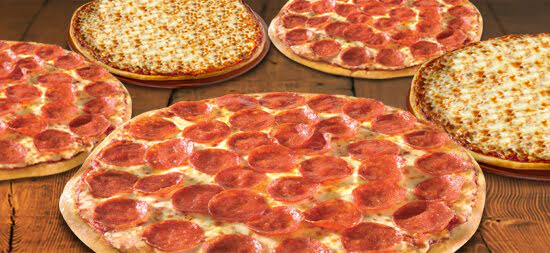 5 FOR $55: 5 LARGE 1-TOPPING PIZZAS $55