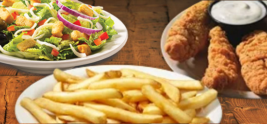Small chicken tenders, french fries and small garden salad