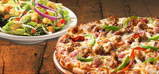 Small classic or deluxe pizza and small garden salad